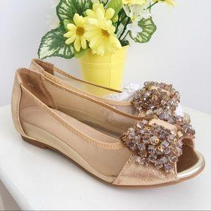 Beige Sparkly Peep Toe Flats size 6.5